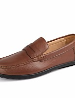 Недорогие -Муж. обувь Кожа Зима Осень Удобная обувь Мокасины и Свитер для Повседневные Черный Коричневый Военно-зеленный