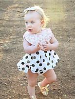 cheap -Baby Girls' Daily Solid Polka Dot Clothing Set,Cotton Linen Bamboo Fiber Acrylic Spring Simple Sleeveless White