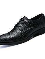cheap -Men's Shoes Nappa Leather Spring Fall Comfort Oxfords for Outdoor Black Burgundy