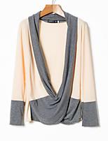 Недорогие -Муж. Контрастных цветов Пуловер, Повседневные Длинный рукав Свободный вырез Весна Осень