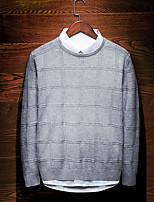 preiswerte -Herrn Solide Alltag Freizeit Pullover Langarm Rundhalsausschnitt Winter Polyester