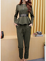 cheap -Women's Daily Casual Winter Set Pant Suits,Solid Round Neck Long Sleeve Oversized Cotton Acrylic Micro-elastic