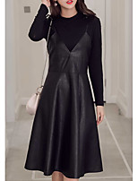 cheap -Women's Daily Casual Winter Set Skirt Suits,Solid Round Neck Long Sleeve Oversized Cotton Acrylic Micro-elastic