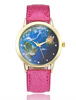 baratos -Mulheres Relógio de Moda Relógio de Pulso Chinês Quartzo Relógio Casual Couro Banda Padrão Mapa do Mundo Preta Branco Azul Vermelho