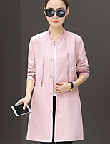 cheap -Women's Daily Casual Winter Fall Trench Coat,Solid Round Neck Long Sleeve Regular Polyester