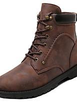 Недорогие -Для мужчин обувь Полиуретан Весна Осень Армейские ботинки Ботинки Сапоги до середины икры для Повседневные Черный Серый Коричневый
