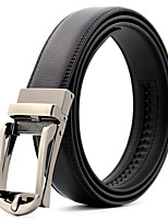 cheap -Men's Genuine Leather Waist Belt,Black Work Casual Solid Pure Color
