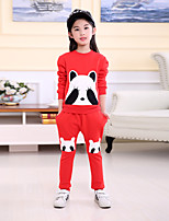 cheap -Girls' Daily School Print Clothing Set,Cotton Summer Fall Long Sleeve Casual Red Black