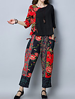 cheap -Women's Casual/Daily Simple Chinoiserie Fall Set Pant Suits,Floral Print Round Neck ¾ Sleeve Cotton