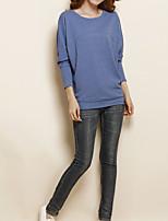 abordables -Tee-shirt Femme,Couleur Pleine Quotidien Décontracté Printemps Manches longues Col Arrondi Coton Opaque