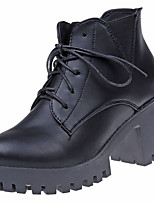 cheap -Shoes PU Spring Fall Comfort Fashion Boots Boots Chunky Heel Round Toe Booties/Ankle Boots for Casual Black Gray