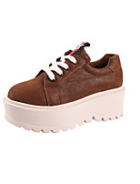 cheap -Women's Shoes PU Spring Comfort Sneakers Creepers Round Toe for Casual Brown Black
