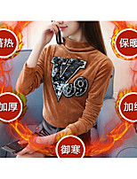cheap -Women's Casual/Daily Vintage T-shirt,Vintage Crew Neck Long Sleeves Cotton/nylon with a hint of stretch