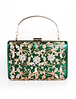 cheap -Women Bags Polyester Evening Bag Crystal Detailing Flower(s) for Wedding Event/Party All Season Red Silver Black Green Gold