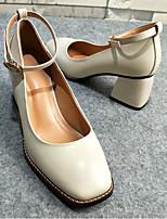 Недорогие -Жен. Обувь Кожа Весна Туфли Мери-Джейн Топ-сайдеры На толстом каблуке Квадратный носок для Повседневные Белый Красный Зеленый