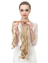 cheap -22 inch Dark Wine Platinum Blonde Light Blonde Dark Auburn Medium Auburn Clip In Wavy Ponytails Wrap Around Human Hair Hair Piece Hair