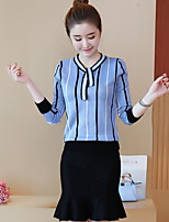 cheap -Women's Daily Casual Winter Shirt Skirt Suits,Print V-neck Long Sleeve Polyester