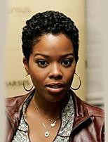 Недорогие -Человеческие волосы без парики Натуральные волосы Мелкие кудри Kinky Curly Парик в афро-американском стиле Короткие Машинное плетение