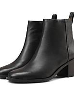 economico -Da donna Scarpe Nappa Pelle Inverno Autunno Comoda Stivaletti alla caviglia Stivaletti Quadrato per Casual Nero