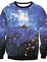 cheap -Men's Daily Sweatshirt Galaxy Round Neck Micro-elastic Polyester Long Sleeve Spring/Fall