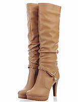 Недорогие -Для женщин Обувь Полиуретан Весна Осень Удобная обувь Оригинальная обувь Модная обувь Ботинки Высокий каблук Заостренный носок Сапоги до