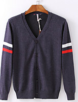 cheap -Men's Cardigan - Solid V Neck
