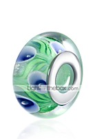 cheap -DIY Jewelry 1 pcs Beads Blue/Green Ball Glass Silver Bead 1.5 cm DIY Bracelet Necklace