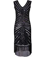 preiswerte -20er Gatsby Kostüm Damen Flapper Kleid Schwarz Vintage Cosplay Polyethylen Kurzarm Kappe