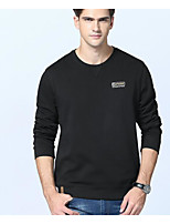 cheap -Men's Petite Daily Simple Print Round Neck Belt Not Included Micro-elastic Polyester Long Sleeve Spring