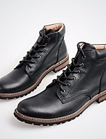 cheap -Men's Shoes Cowhide Winter Combat Boots Boots Booties/Ankle Boots for Casual Black Coffee