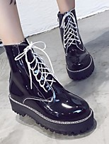 cheap -Women's Shoes PU Spring Fall Comfort Combat Boots Boots Chunky Heel Booties/Ankle Boots for Casual Black