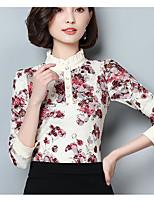 Недорогие -Для женщин Прочее Блуза Воротник-стойка,Уличный стиль Цветочный принт Длинный рукав,Полиэстер