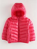 Недорогие -Девочки На пуховой / хлопковой подкладке Однотонный Зима Синий Черный Розовый