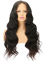 cheap -100% Human Virgin Hair Lace Wig Wavy With Baby Hair Glueless Lace Front Natural Hairline 130% Density Dark Black Natural Black Dark Brown