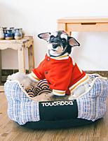 Недорогие -Собака Кровати Животные Коврики и подушки Геометрический принт Теплый Красный Синий Для домашних животных