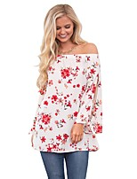 cheap -Women's Daily Casual Winter Fall T-shirt,Floral Off Shoulder Long Sleeve Polyester Opaque