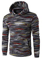 cheap -Men's Petite Daily Casual Hoodie Striped Print Hooded Hoodies Micro-elastic Polyester Long Sleeve Winter Autumn/Fall