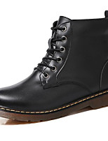 Недорогие -Для женщин Обувь Натуральная кожа Зима Осень Армейские ботинки В ковбойском стиле Модная обувь Ботинки Плоские Круглый носок Ботинки