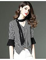 economico -T-shirt Da donna Quotidiano Casual Autunno,A strisce A V Cotone Poliestere Maniche lunghe Sottile