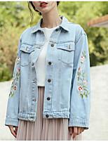 cheap -Women's Denim Jacket - Print, Oversized Shirt Collar