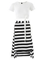 cheap -Women's T-shirt - Striped Skirt