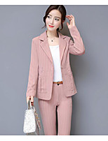 cheap -Women's Casual/Daily Simple Winter Fall Set Pant Suits,Striped Shirt Collar Long Sleeves Others