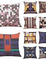 cheap -10 pcs Linen Pillow Cover,Geometric Art Deco Plaid/Check
