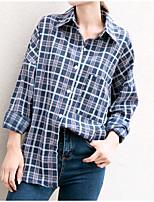 cheap -Women's Casual/Daily Cute Shirt,Color Block Shirt Collar Long Sleeves Cotton