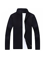 cheap -Men's Daily Casual Short Cardigan,Solid Stand Long Sleeve Polyester Fall Thick Inelastic