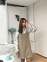 cheap -Women's Casual/Daily Active Spring/Fall Shirt,Floral Shirt Collar Long Sleeve Cotton Medium