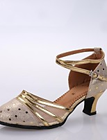 "cheap -Women's Latin Cowhide Heel Professional Paillette High Heel Gold 2"" - 2 3/4"" Customizable"