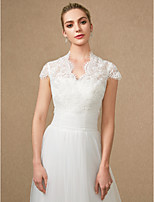 cheap -Short Sleeves Lace Tulle Wedding Party / Evening Women's Wrap With Applique Lace Zipper Shrugs