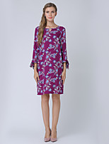 cheap -Women's Work Going out Casual Street chic A Line Knee-length Dress, Floral Round Neck 3/4 Length Sleeves