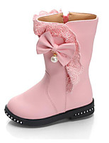 cheap -Girls' Shoes Leatherette Winter Fall Comfort Fashion Boots Boots Mid-Calf Boots for Casual Wine Pink Red Black